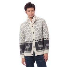 Edifice British Wool Mock Neck Cowichan Cardigan 11080300100430: Grey