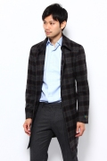 Wool Beleted Coat 12020320001330: Grey